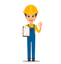 constructor worker handsome builder holding vector image vector image