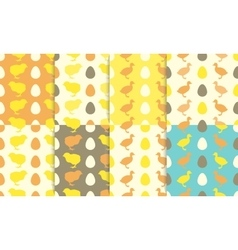 Seamless patterns with chick and duckling vector image vector image