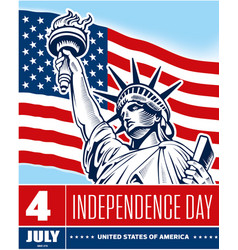 statue of liberty usa flag independence day vector image vector image