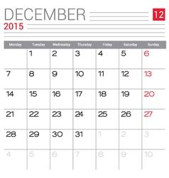2015 December calendar page vector image