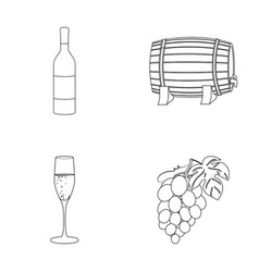 A bottle of red wine a wine barrel a glass of vector