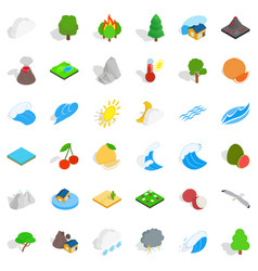 Afforestation icons set isometric style vector