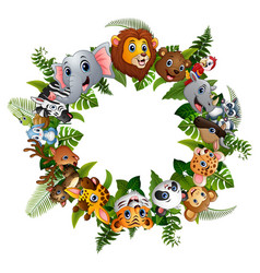 Animals forest cartoon together in circle vector