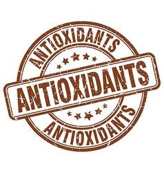 Antioxidants brown grunge round vintage rubber vector