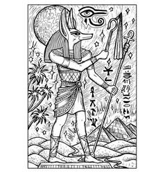 Anubis god engraved fantasy vector