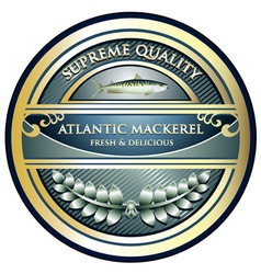 Atlantic Mackerel Label vector image