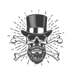 Bearded skull in vintage hat crossed bones design vector