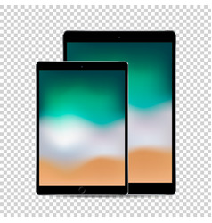 Beautiful concept of 2 sized black tablets with vector