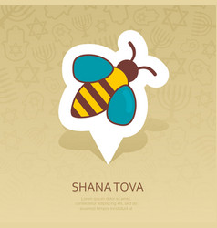 Bee rosh hashanah pin map icon shana tova vector