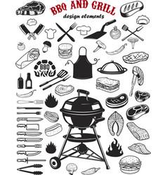 Big set bbq and grill design elements kitchen vector