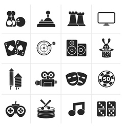 Black entertainment objects icons vector