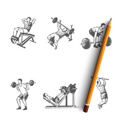 Body building - man making exercises vector