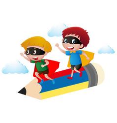 boy in hero costume flying on pencil vector image