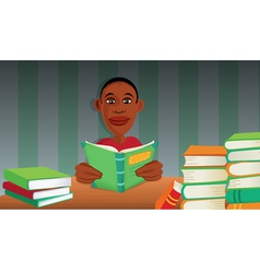 Boy reading books vector