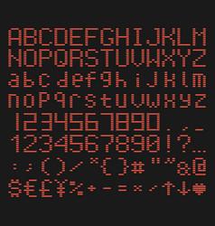 Brick font alphabet retro game typeface vector