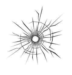 Bullet hole in glass white background vector