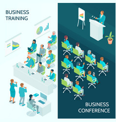 business education isometric banners vector image