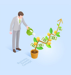 business man with pot watering money tree vector image