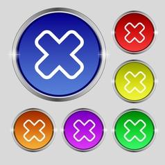 Cancel icon sign Round symbol on bright colourful vector