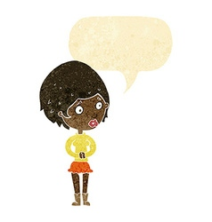 Cartoon concerned woman with speech bubble vector