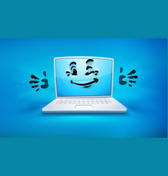 cartoon laptop icon vector image