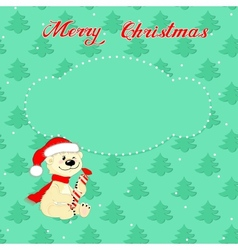 Christmas card with little polar bear vector