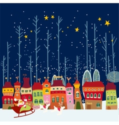Christmas cartoon background with city vector