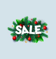 christmas sale banner xmas decoration vector image