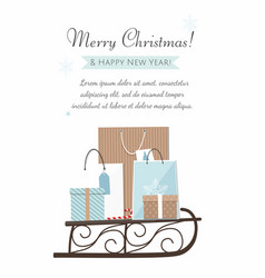 Christmas sleigh filled gift boxes and bags vector