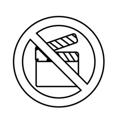 clapperboard with denied sign vector image