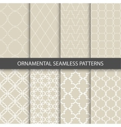 collection beige ornamental patterns vector image