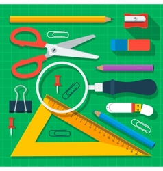Colorful school supplies flat design vector image