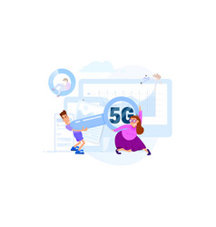 communication people quick connection wi-fi vector image