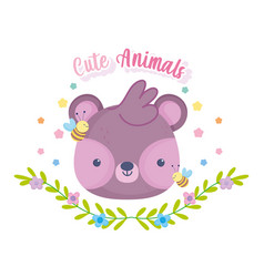 cute animals little bear face bees flowers and vector image