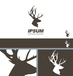 Deer Stag Head silhouette quality label branding vector