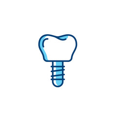 dental implant icon tooth pin prosthetic vector image