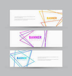 design of white horizontal banners with abstract vector image