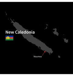 Detailed map of New Caledonia and capital city vector image