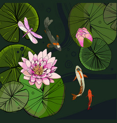 Drawing decorative pond template vector