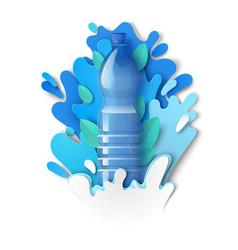 Drink water plastic bottle paper cut liquid vector