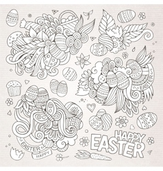 Easter symbols and objects vector image