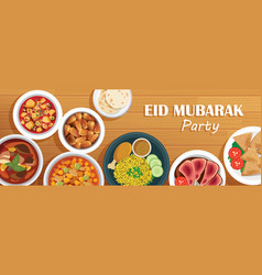 Eid mubarak party cover and banner with food on vector