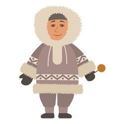 eskimo man standing alone isolated arctic person vector image