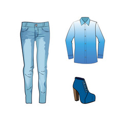 Fashion set with jeans trousers gradient blouse vector