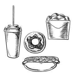 Fast food dessert and drink sketch icons vector