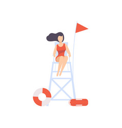 Female lifeguard sitting on lookout tower vector