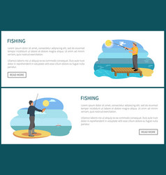 Fishing posters set and text vector