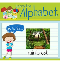 Flashcard letter R is for rainforest vector image