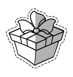 Gift box ribbon anniversary party linea shadow vector