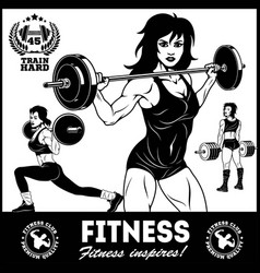 Girls with barbell - beautiful fitness girls doing vector
